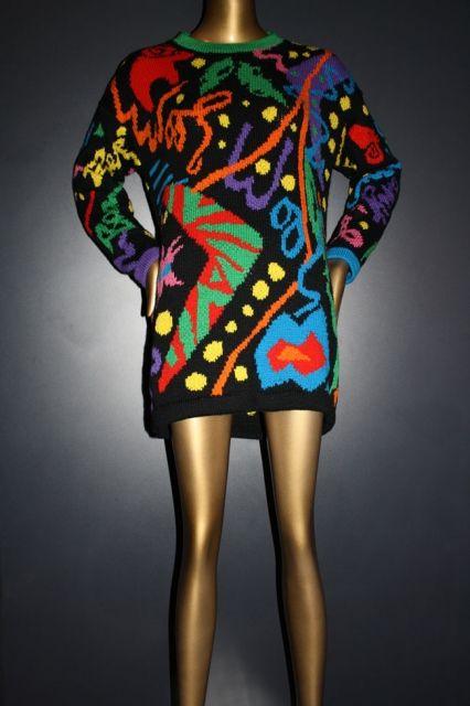 "Flamingo Park ""Australian Wool"" themed wool hand knit jumper c1980"