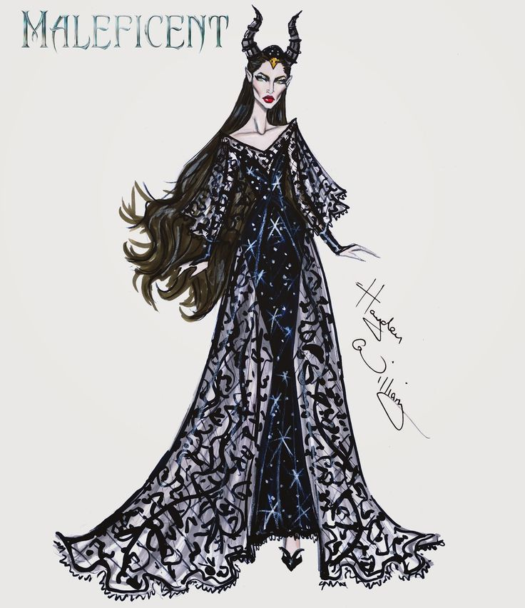Hayden Williams Fashion Illustrations: Maleficent collection by Hayden Williams: 'Horned Beauty'