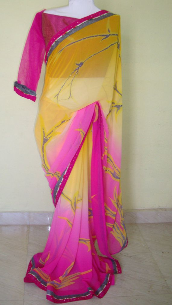 Indian designer saree for women/yellow and pink by SabirCreations