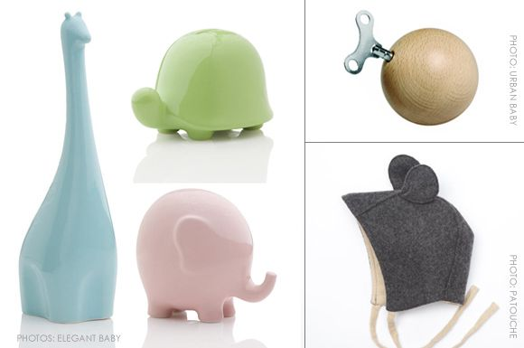 Elegant Baby Coin Banks - Available in a ceramic elephant, bear, giraffe and turtle. Mozartkugel Music Box - Plays music from Mozart. Petit Souris Bonnet - Made by Canadian designer Patouche.