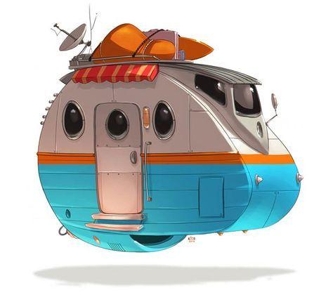 """""""Ze Future"""", une jolie série de véhicules rétro-futuristes imaginés par l'illustrateur Ido Yehimovitz, à qui l'on devait déjà la série""""Greatest Rides"""