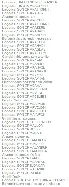 ...And then Aragorn epically forgot Legolas'father name when introduced him....