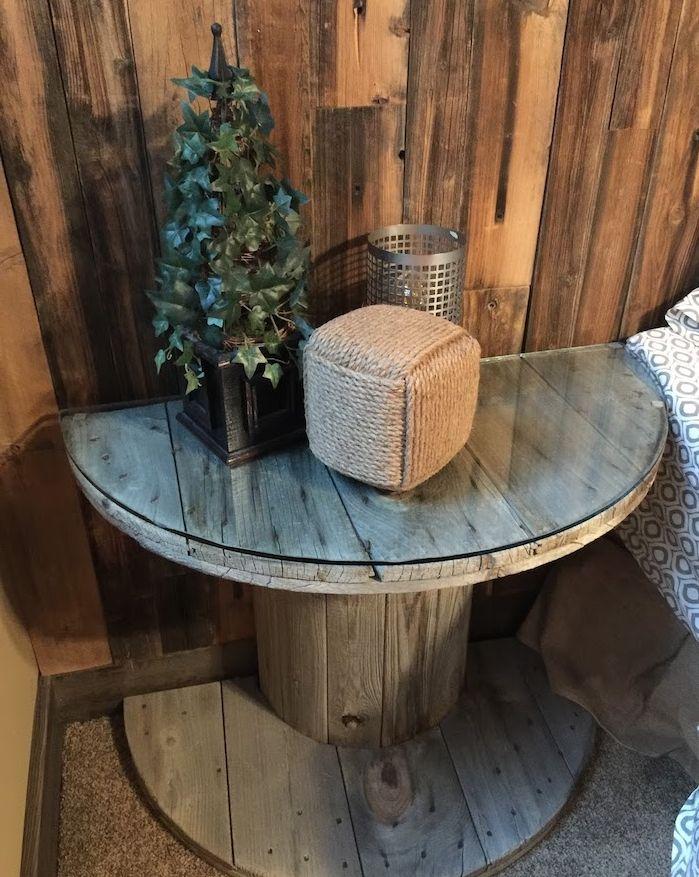 Recyclage Touret De Bois Deco Pour Faire Une Table De Nuit Avec