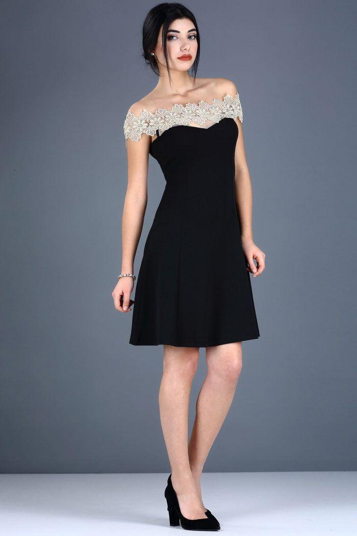 Üst Dantel İşleme Tül Detay Siyah Elbise 49TL