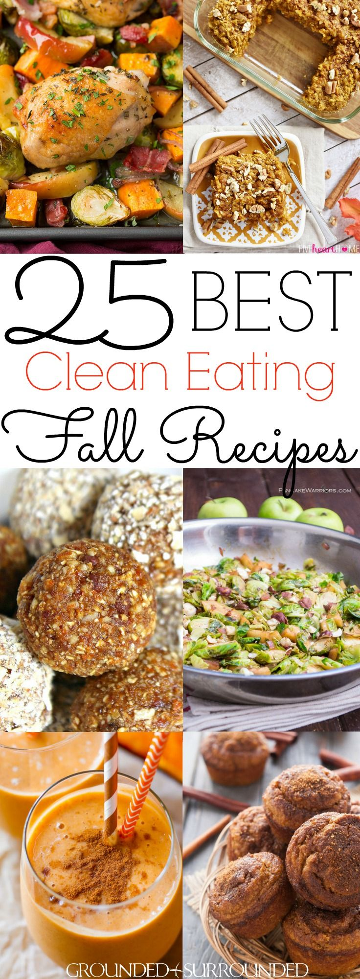 The 25 BEST Clean Eating Fall Recipes   Autumn is my favorite season to cook healthy and easy meals. You will find delicious breakfast, dinner, lunch, dessert and snack ideas. Not to mention soup, stew and drinks that use pumpkin, apple, brussels sprouts and squash recipes to satisify your need for classic, comforting and cozy flavors! Most are gluten free / Paleo / low carb / dairy free, but vegetarian and vegan substitutions can be made too.