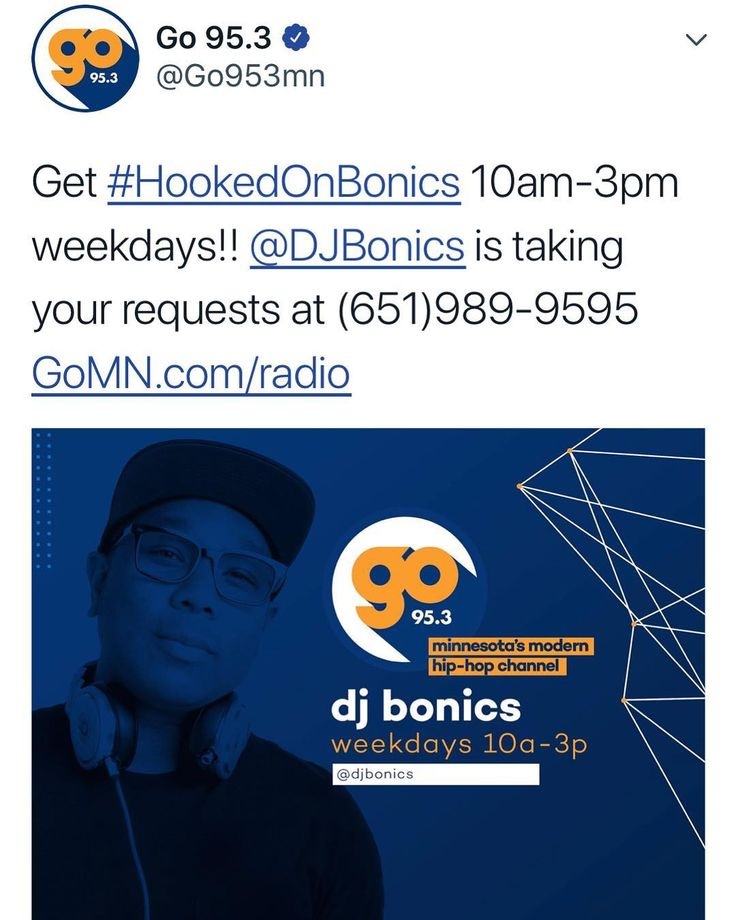 On your radio M-F starting at 10amon @go953mn ! Playing new Bruno ft Cardi B New Kendrick and SZA and the original version of Rockstar with T-Pain and Joey Badass. Plus all throwback mix at noon! #GoBonics Listen Live at GOMN.com or click link in Bio!