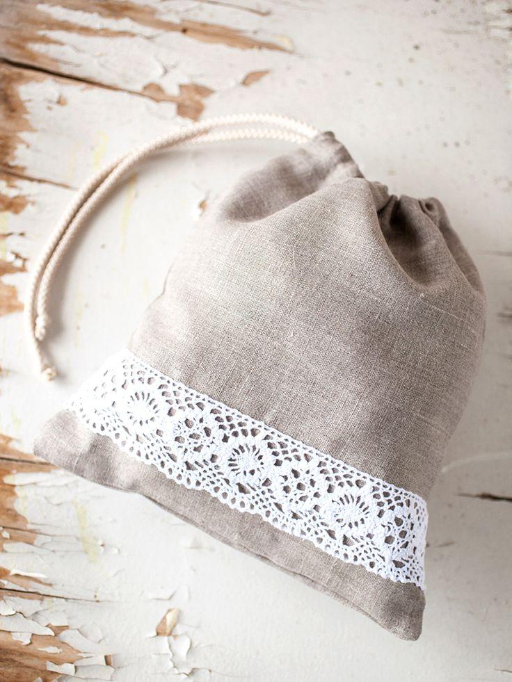 Linen bread bag - Linen bread keeper - Drawstring bag - bread bag - Linen lace gift bag - Lingerie travel bag