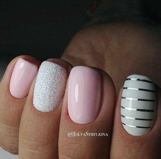 Pink n white nail art