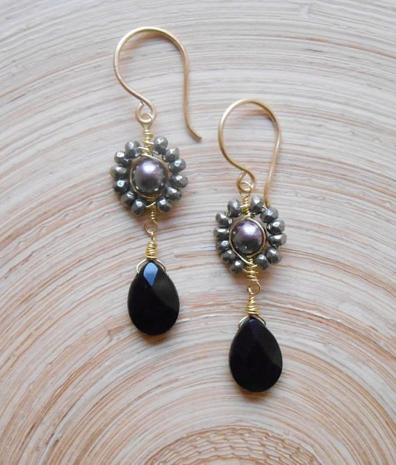 Maurice gemstone beaded cluster earrings gray black dangle drop wire wrap pyrite onyx pearl gold fill Valentine gift for her June birthstone