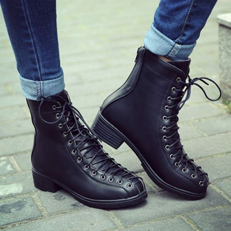 Big Size Thick Heel Boots Trending Round Toe Boots Lace Up Motorcycle Martin Boots - Gchoic.com #shoes #fashion #boots #popular #discount #cheap #under20 #warm #winter