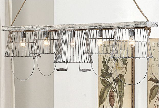 Clever egg basket light fixture - Industrial Farmhouse Decor