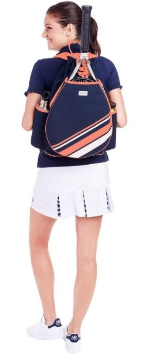 Love Tennis Bags ? Here's our  Coral/White Stripe Ame & Lulu Ladies Parker Tennis Backpack! Find plenty of Tennis Accessories here at #lorisgolfshoppe