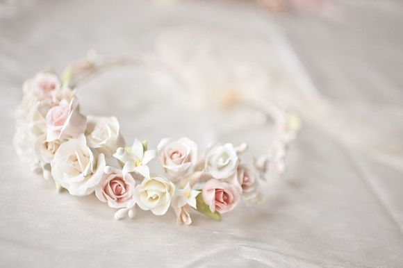 Heirloom floral headpiece made from clay by Lila. Photography by http://www.katylunsford.com/