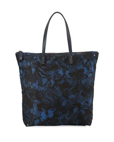 Men's Camu Butterfly-Print Nylon Tote Bag