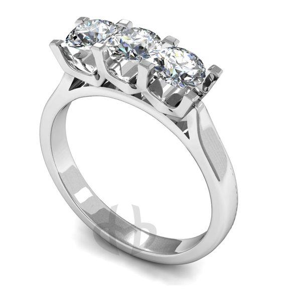 Platinum Diamond Engagement Ring Trilogy 3 Same Size