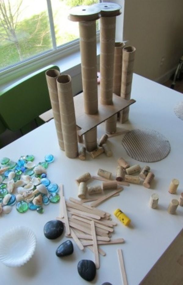 Tabletop loose parts creative activity for kids... Love this kind of open ended building and creating activity