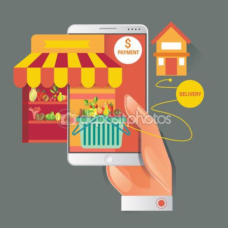 Colorful vector illustration concept for online ordering of food. delivery vector illustration concept for grocery delivery — Stock Vector © kupritz #123535608