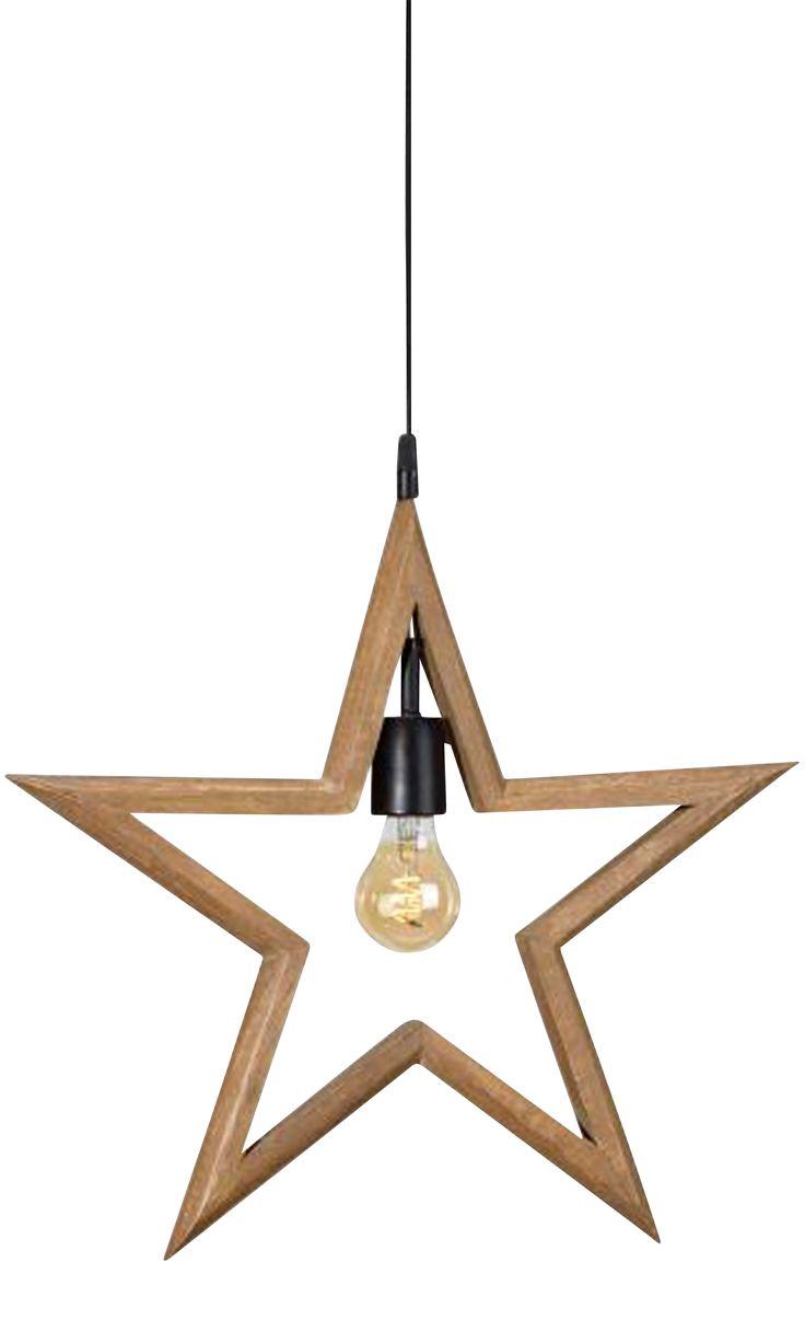 Hägnade stjärna i trä. Bredd 59cm, höjd 56cm, djup 3cm. E27/stor sockel. Max 40W. 3,5m svart textilsladd med väggkontakt. Ljuskälla ingår ej.