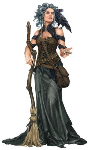 f Sorcerer Witch Broom Raven midlvl forest hills rough mountains farmland desert DSA Rabenhexe