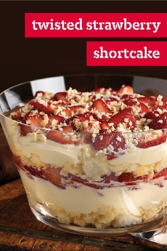 Twisted Strawberry Shortcake – Our summer shortcake recipe looks a lot like a trifle dessert—layered with fresh berries, JELL-O Vanilla Flavor Instant Pudding, citrusy angel food cake, and BAKER'S White Chocolate. The second you set this dish down on the potluck table, it's sure to win the crowd over.