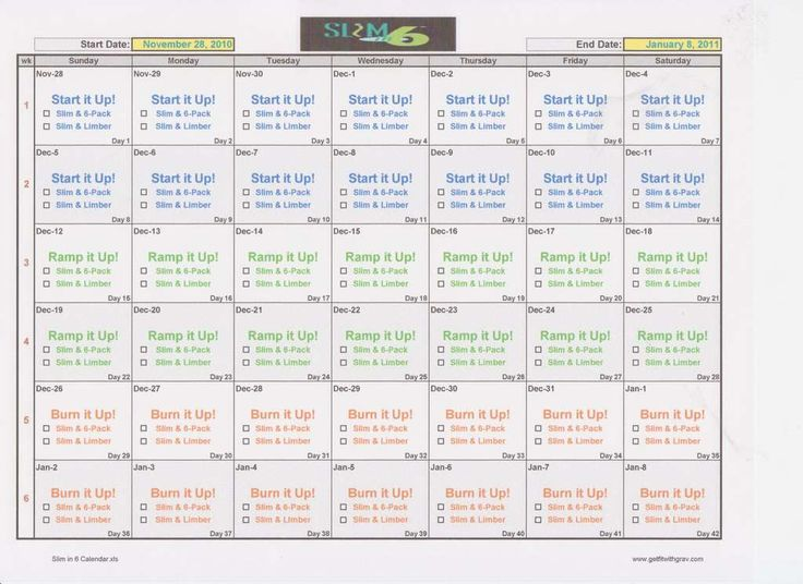 Slim in 6 Printable Calendar www.beachbodycoach.com/kaylao1024