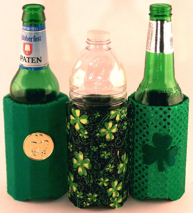 Beverage Insulator-St.Patty's Fabric PocketHuggie is Handmade, EcoFriendly, Reusable, Folds Flat, 2 Sizes - Can and Glass Beer Bottle Size by PocketHuggie on Etsy https://www.etsy.com/listing/125417068/beverage-insulator-stpattys-fabric