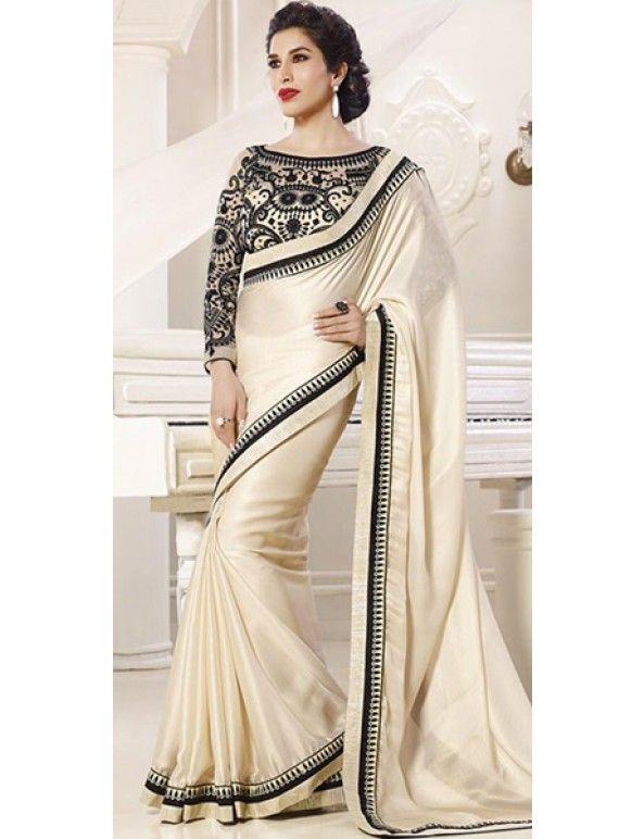 Off-White And Black Shimmer Georgette Embroidered Saree