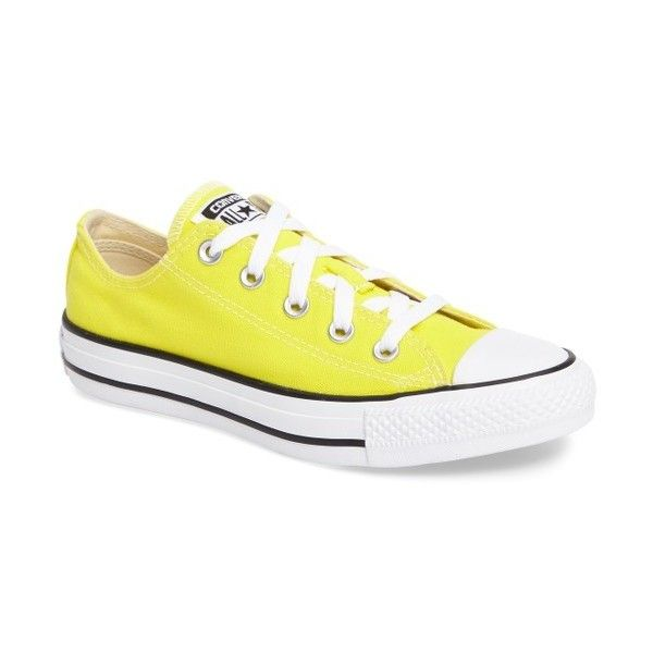 Women's Converse Chuck Taylor All Star Seasonal Ox Low Top Sneaker ($55) ❤ liked on Polyvore featuring shoes, sneakers, fresh yellow, yellow shoes, yellow canvas sneakers, low profile sneakers, converse trainers and low top
