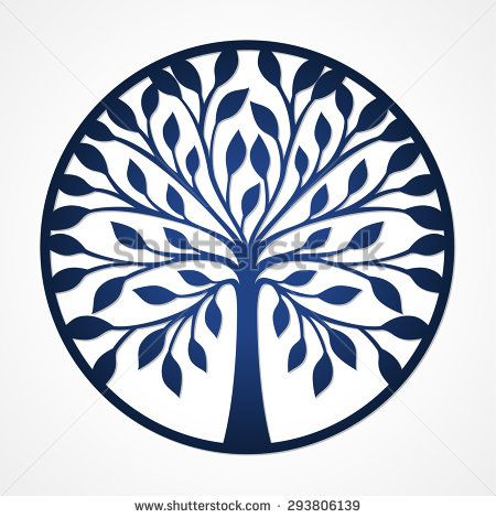 Abstract round frame with tree. May be used for laser cutting. Lazercut tree card. Paper cutting tree. Round tree logo in frame. - stock vector
