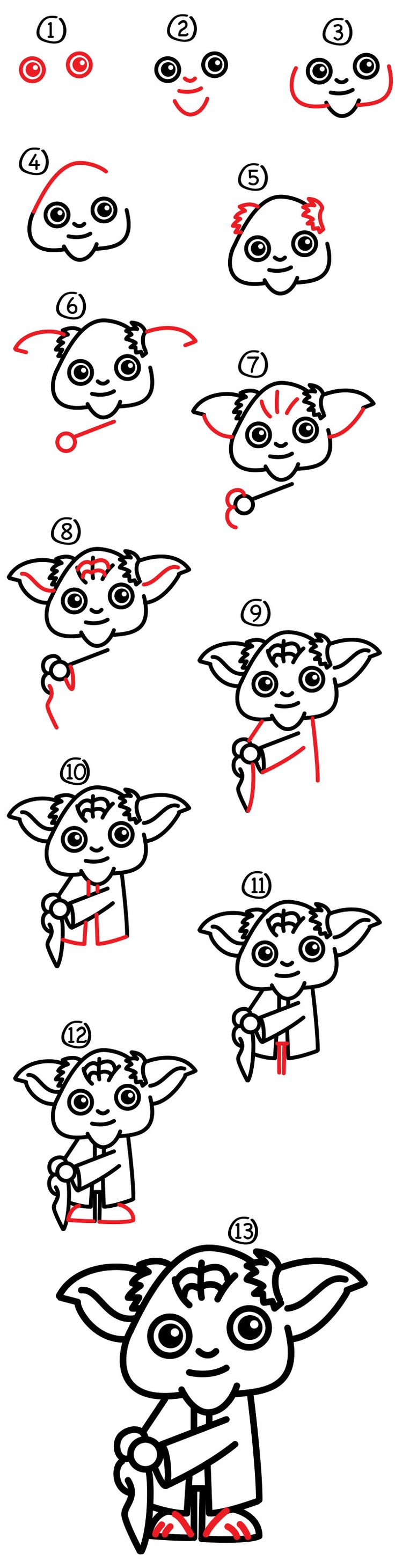 Yay, it's another Star Wars character! Grab those markers and some paper. Follow along with us and learn how to draw cartoon Yoda! He's one of my favorite Jedis. We're drawing a cartoon version, so we tried to make this lesson a bit easier for our younger artist. Older artists will still have fun following …