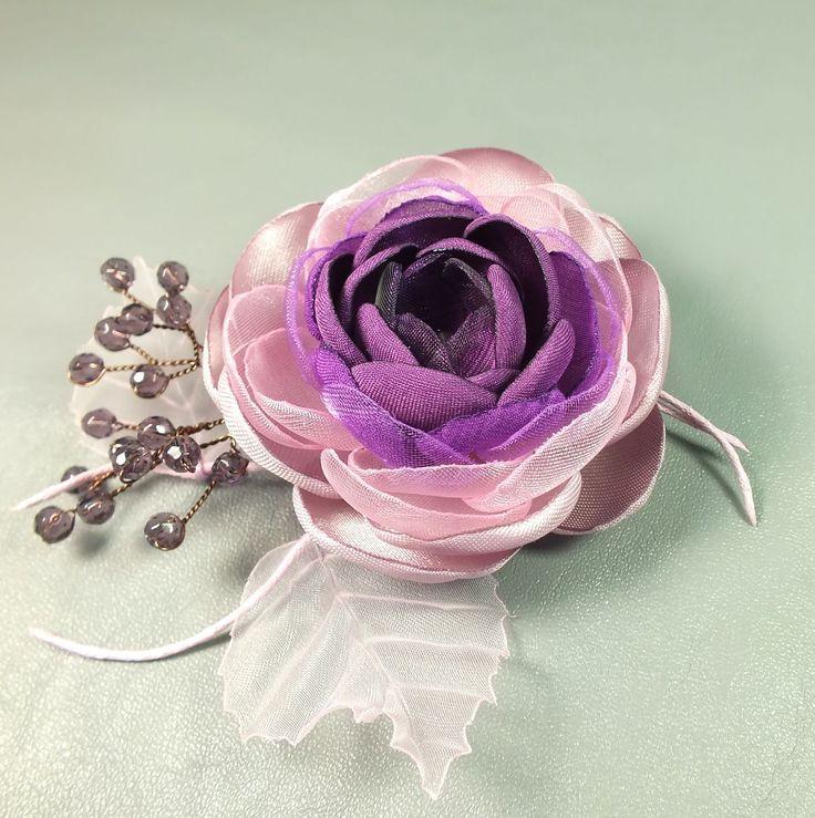 Купить Сливовый Сироп. Брошь - цветок ручной работы из ткани - розовый, сливовый, фиолетовый, сиреневый