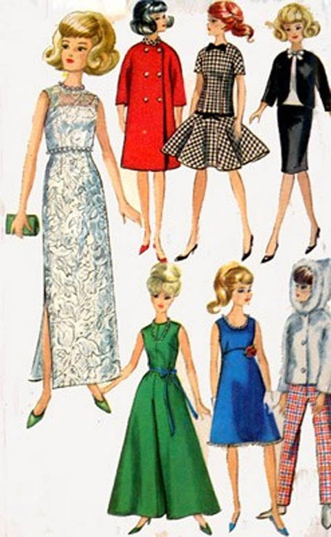 Vintage 60s Simplicity 6208 BARBIE WARDROBE Plus My Grandmother used to make Barbie clothes for me.