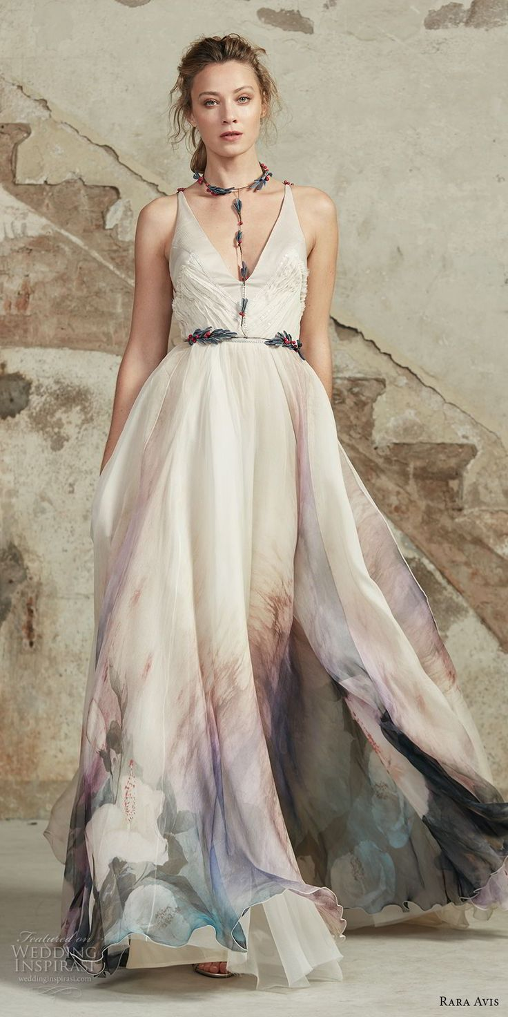 rara avis 2017 bridal strapless v neck lighly embellished colored prints romantic soft a line wedding dress open strap back medium train (23) mv