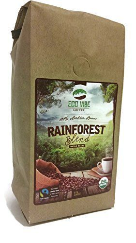 Great Organic Coffee Beans, Rainforest Blend 12oz Gourmet Light Medium Roast Coffee Beans By Eco Vibe Coffee, Fair Trade and Usda Certified Organic, We Donate to Environmental Goodness!