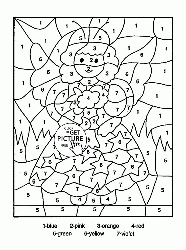 Color by Number Little Fairy coloring page for kids, education coloring pages printables free - Wuppsy.com