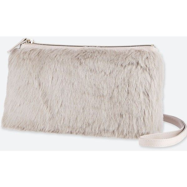 UNIQLO Women's Faux Shearling Shoulder Bag ($20) ❤ liked on Polyvore featuring bags, handbags, shoulder bags, grey, gray handbags, shoulder bag purse, long handbags, shoulder bag handbag and miniature handbags