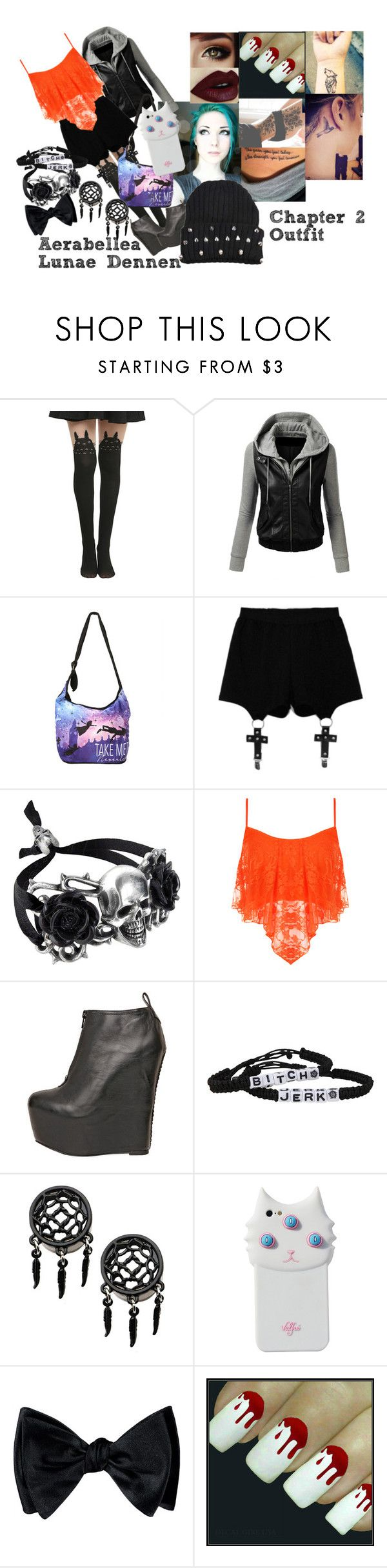 """Aerabellea Lunae Dennen Ch2 Outfit- Tattoo Parlor"" by asking-shaforostov ❤ liked on Polyvore featuring Ghibli, Disney, Chicnova Fashion, WearAll, Jeffrey Campbell and Valfré"