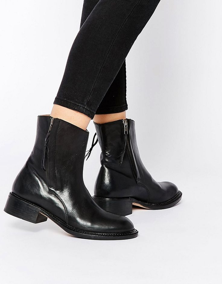 Image 1 ofH by Hudson Alleline Black Leather Zip Ankle Boots