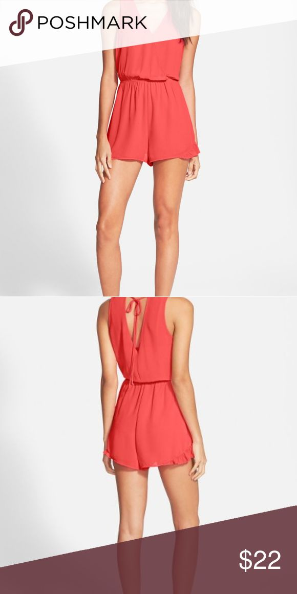 Astr The Label orange Flutter Romper Playsuit New Gentle pleats flutter the surplice bodice and leg flaunting shorts of a sporty sleeveless romper. Back tie closure, adorable.. Nipped in waist. Brand-new without tags Astr Pants Jumpsuits & Rompers