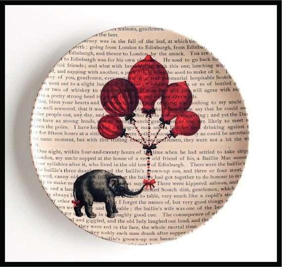 Elephant Dinner Plate - Melamine Plate Hot Air Balloons and Elephant Plate Cookie Plate Melamine Plate Dictionary Art Vintage Book Print & 194 best Dish Design images on Pinterest | Dish sets Ceramic plates ...