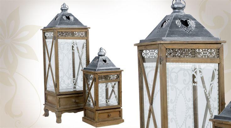 Série de 2 lanternes décoratives en bois vieilli, métal et verre