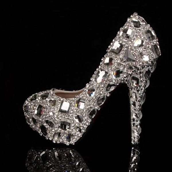 LUXURY Czech & swarovski Crystal Bridal Prom Party Heels Queen Princess Shoes in Clothing, Shoes & Accessories, Wedding & Formal Occasion, Bridal Shoes