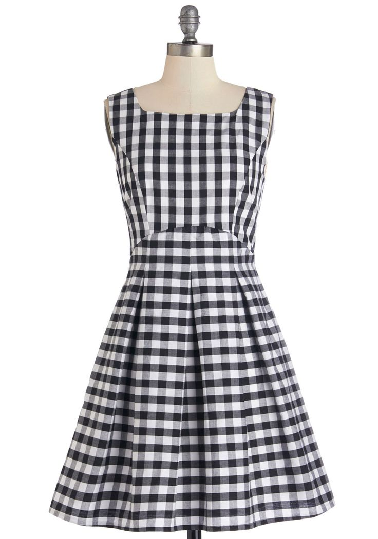 In Cheerful Swing Dress. Now that your backyard get-together is in full swing, you and your black and white gingham dress can kick back and enjoy the merry festivities.  #modcloth #anthropologie #pintowin