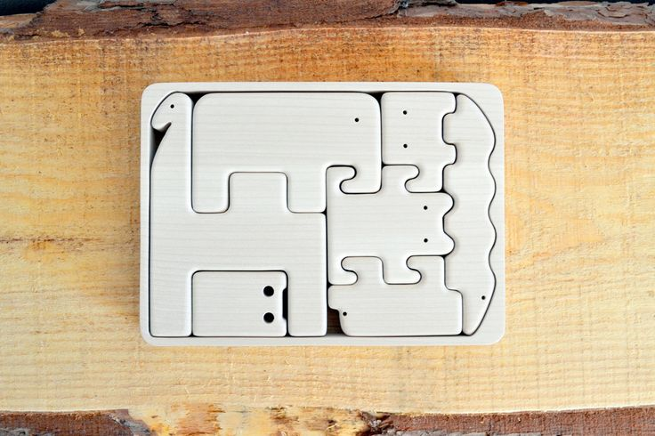 Organic Wooden Animal Puzzle - Set of 7 Wooden Animals -