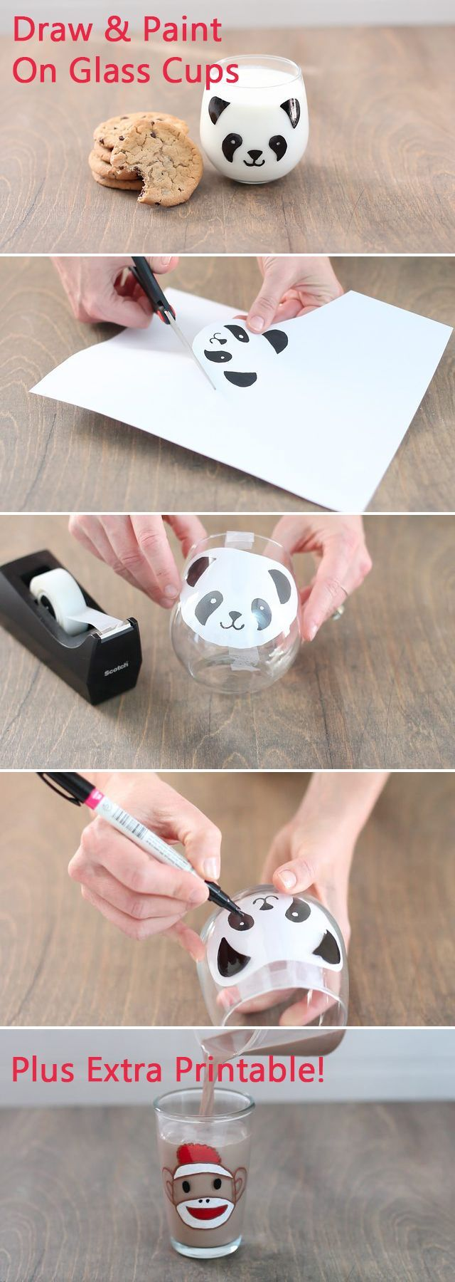 How adorable are these Panda (and sock monkey) glass milk cups! After drawing on the panda with our stencil, the milk fills in the rest! Just in time for Kung Fu Panda,  make these Panda cups at home with the kids and they'll LOVE drinking their milk.  Both printables available for free here: http://www.ehow.com/how_5911306_draw-paint-glass.html?utm_source=pinterest.com&utm_medium=referral&utm_content=freestyle&utm_campaign=fanpage