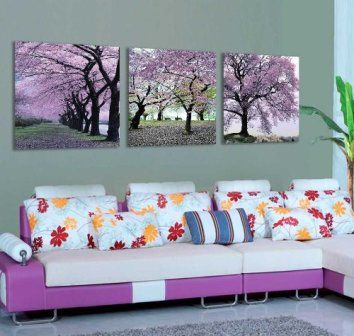 Mon Kunst Cherry Blossom Trees Large Wall Art Canvas Picture Artwork 3 pieces(Stretched and Framed) Ready to Hang Cherry blossom décor is a great way to life, beauty and peace to your home.  You can find all kinds of cherry blossom decorating ideas by looking at cherry blossom wall art, cherry blossom accent pillows and other cherry blossom decorative accents.  Effortlessly use this type of décor in your bedroom, living room and bathroom and perhaps gain some inspiration from it to spruce up