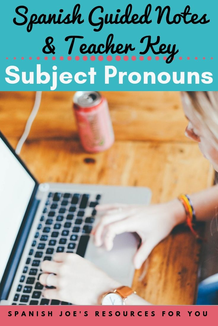 These Guided Notes Teacher Key Include A Worksheet Style Notes Page About Spanish Subject Pronouns Spanish Subject Pronouns Guided Notes Learning Printables