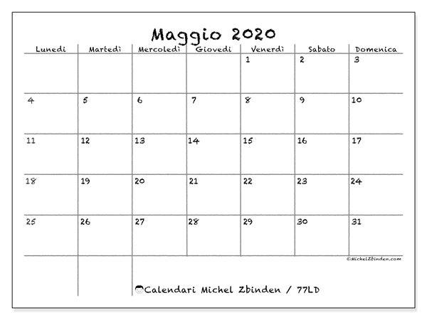 Calendario maggio 2020 (77LD) | Calendario, Calendari mensili e