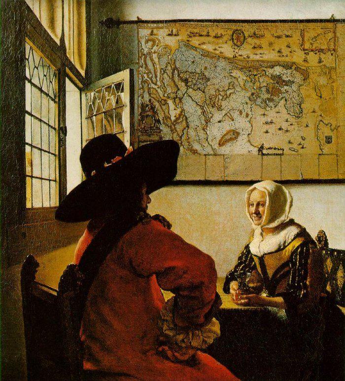 Jan Vermeer van Delft Soldier and smiling girl
