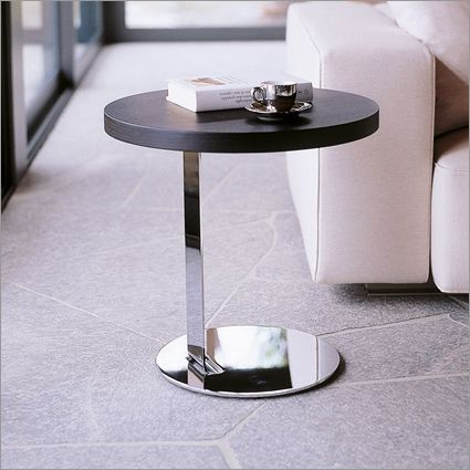 Living room - porada single round side table, chrome with walnut top - by marconato & zappa